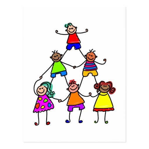 Teamwork-Kinder Postkarten