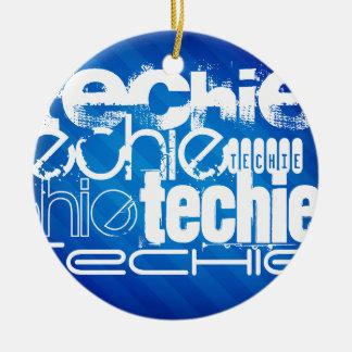 Techie; Königsblau-Streifen Rundes Keramik Ornament