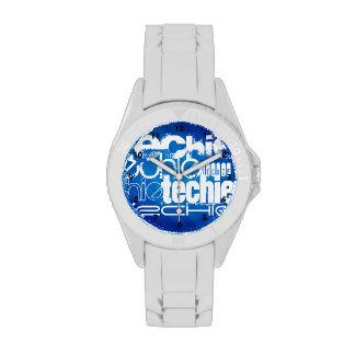 Techie; Königsblau-Streifen Armbanduhr