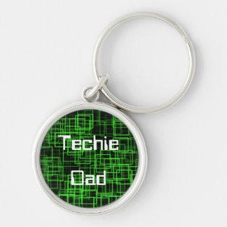 Techie Vati keychain Silberfarbener Runder Schlüsselanhänger