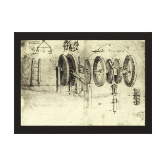 Technik-Skizze eines Rades durch Leonardo da Vinci Leinwanddruck
