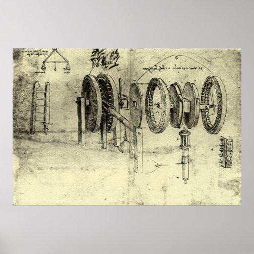 Technik-Skizze eines Rades durch Leonardo da Vinci Poster