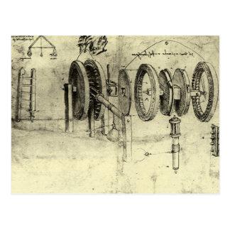 Technik-Skizze eines Rades durch Leonardo da Vinci Postkarte