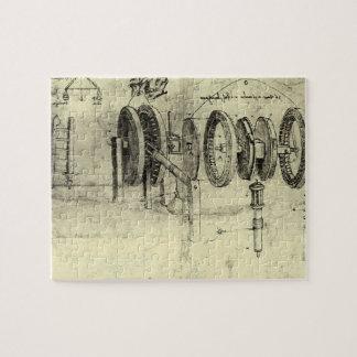 Technik-Skizze eines Rades durch Leonardo da Vinci Puzzle