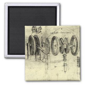 Technik-Skizze eines Rades durch Leonardo da Vinci Quadratischer Magnet