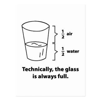Technisch ist das Glas immer voll Postkarte
