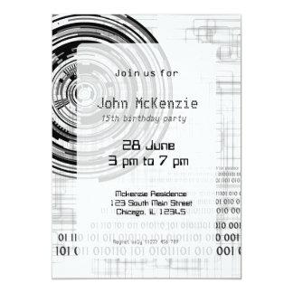 Techno Datenring #2 12,7 X 17,8 Cm Einladungskarte