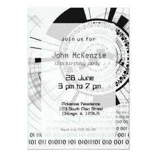 Techno Datenring #5 12,7 X 17,8 Cm Einladungskarte