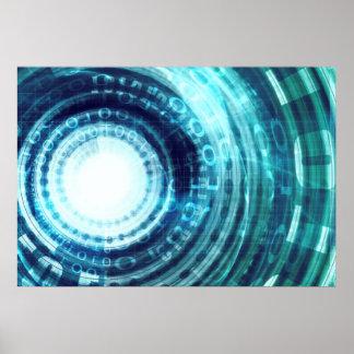 Technologie-Portal mit Digital-Kreis-Zugang Poster