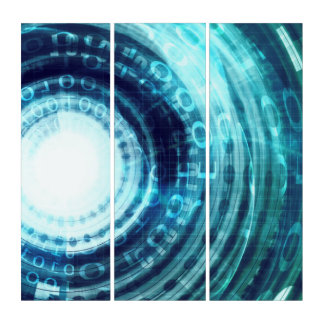Technologie-Portal mit Digital-Kreis-Zugang Triptychon