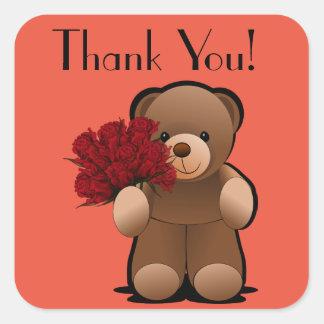 Teddy-Bär und Rosen danken Ihnen zu beschriften Quadratischer Aufkleber