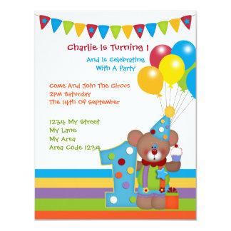 Teddy-Bärn-Clown-erstes Geburtstags-Party 10,8 X 14 Cm Einladungskarte