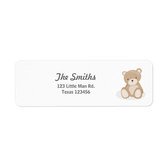 Teddy-Bärn-Rücksendeadressen-Aufkleber weiß