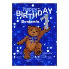 Teddybär-1. Geburtstag für Jungen Karte