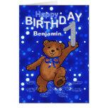 Teddybär-1. Geburtstag für Jungen Karten