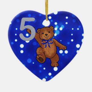 Teddybär-5. Geburtstag für Jungen Keramik Ornament