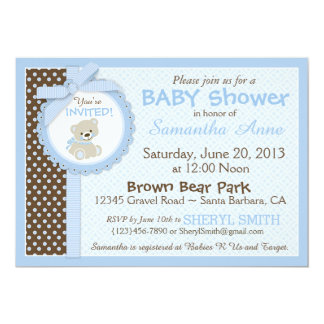 Teddybär-Baby-Babyparty-Blau Karte