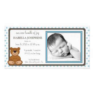 Teddybär-Blau kundengebundene Geburts-Mitteilung Bildkarte