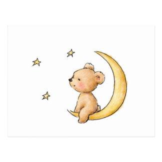 Teddybär, der die Sterne aufpasst Postkarte