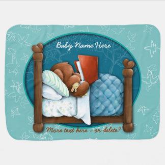 Teddybär. Feder-Bett. Buch. Personalisiert Kinderwagendecke