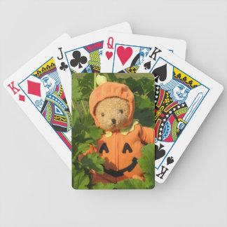 Teddybär im Kürbis-Flecken Bicycle Spielkarten