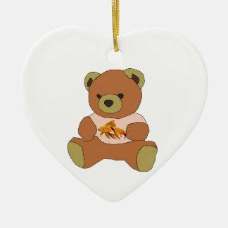 Teddybär Keramik Herz-Ornament