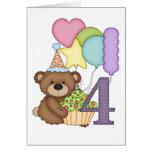 Teddybär mit Ballon-Kindervierter Geburtstags-Kart Grußkarten