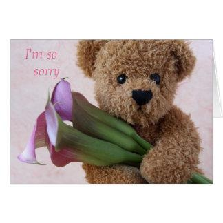 Teddybär mit Callalilien-Entschuldigungskarte Grußkarte