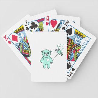 Teddybär mit einem Regenschirm Bicycle Spielkarten