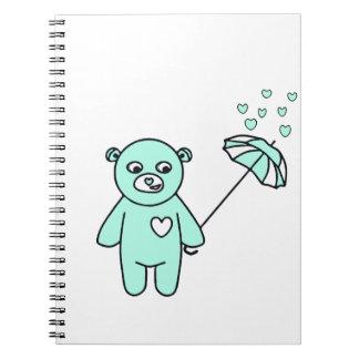 Teddybär mit einem Regenschirm Spiral Notizblock