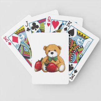 Teddybär mit Erdbeeren, ursprüngliches buntes Bicycle Spielkarten