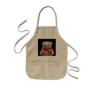 Teddybär mit Gewebeherz-KinderSchürze Kinderschürze
