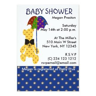 Teddybär mit Regenschirm-Babyparty Karte