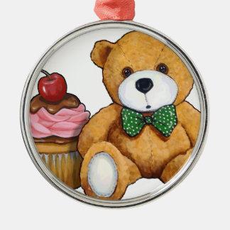 Teddybär mit rosa kleinem Kuchen, Kirsche, Rundes Silberfarbenes Ornament