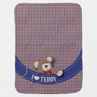 Teddybär-Picknick-blauer u. roter Gingham Puckdecke