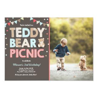 Teddybär-Picknick-Jungengeburtstag Einladungs-Blau Karte