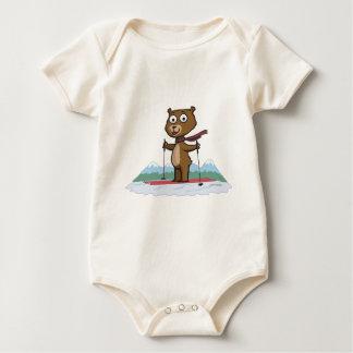 Teddybär-Ski fahren Baby Strampler