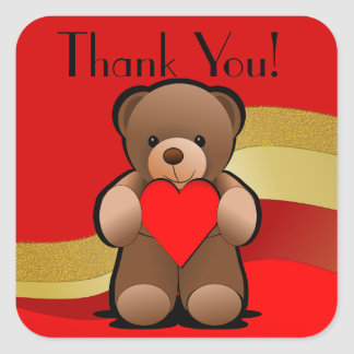 Teddybär und Herz danken Ihnen Quadratischer Aufkleber