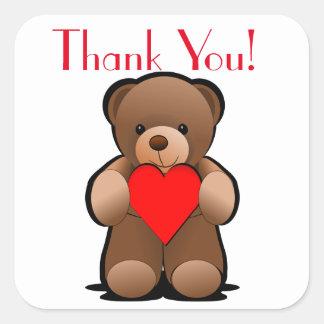 Teddybär und Herz danken Ihnen zu beschriften Quadratischer Aufkleber