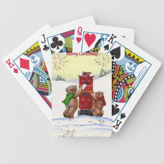Teddybär-Weihnachtskarte Bicycle Spielkarten