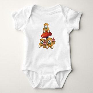 Teddybären, Toadstool, kleine Kuchen, Baby Strampler
