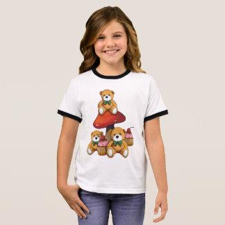 Teddybären, Toadstool, kleine Kuchen, Ringer T-Shirt
