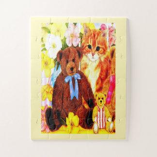 Teddybären und Katze Puzzle
