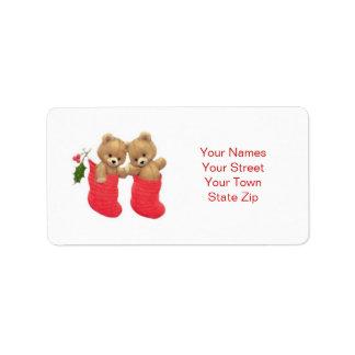 Teddybären und -Strümpfe Weihnachtsaufkleber Adressaufkleber