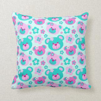 Teddybärn-Blumen zacken Aquamädchen-Kissenkissen Kissen