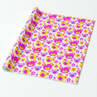 Teddybärn-Blumen zacken gelbe Geschenkpapier