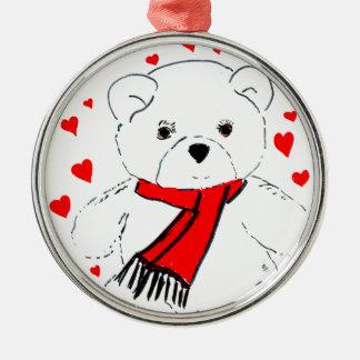 Teddybärn-Liebe Silbernes Ornament