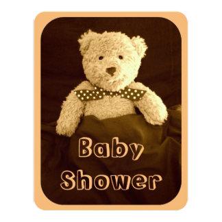 Teddybärsepia-Ton-Babyparty-Einladungs-Karte Karte