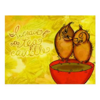 Tee-Eulen-Umarmungen Postkarte