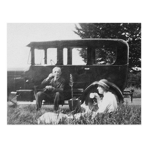 Tee für zwei altes schwarzes u. weißes Bild - Post Postkarten